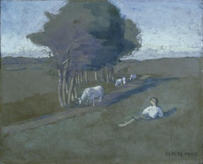 Untitled (Landscape with trees, boys and