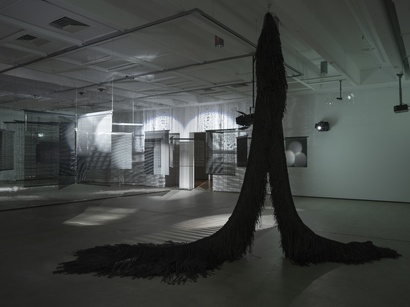 Heague Yang, Installation view: <em>Triple Vita Nestings</em>, Institute of Modern Art, Brisbane. In view: <em>Multiple Mourning Room</em>, 2012, Digital colour print (in collaboration with Manuel Raeder), Dimensions variable, Courtesy Manuel Raeder, Haegue Yang and Greene Naftali, New York; <em>The Intermediate—Tinted Multi-Tentacled Serpent</em>, 2017, Powder-coated stainless steel hanging structure, powder-coated stainless steel frame, steel wire rope, plastic twine, Bupo, 390 x 390 x 300 cm, Courtesy the artist. Photo: Carl Warner