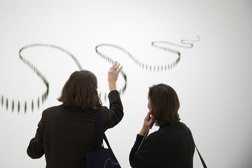 <em>Waking Up Slowly: Elizabeth Thomson and Len Lye</em> 2019, installation view, Upper ramp at the Govett-Brewster Art Gallery/Len Lye Centre. Photo Sam Hartnett