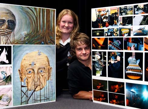 TOP ART: Taranaki students Bronte Heron and James Drummond had their work on show at Govett-Brewster Art Gallery as part of the Top Art Secondary Schools exhibition. Photo: Robert Charles/Fairfax NZ