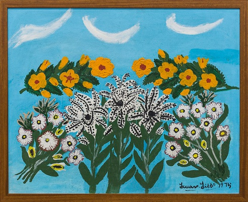 Teuane Tibbo, <i>Flowers II</i>, 1975. Acrylic on board. Collection of Malcolm McNeill. 
