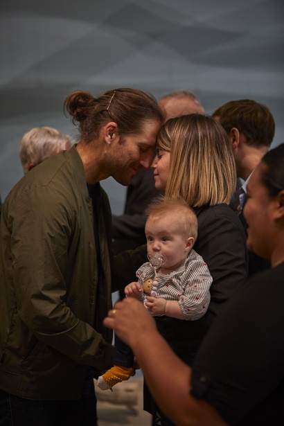 Artist in residence Nicolás Paris, Govett-Brewster Art Gallery Director Aileen Burns and baby Hilma at the blessing of the exhibitions 6 Apr 2019. Photo Sam Hartnett