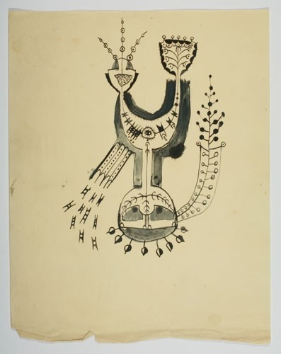 Len Lye <em>Drawing for Head Man of the Seed World</em> c. 1930, Ink on paper, 10 3/5 x 8 3/10 inches, Courtesy of the Len Lye Foundation Collection, Govett-Brewster Art Gallery.
