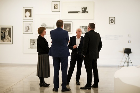 (L-R) Alison Turner, Rob McEwan, John Leuthart and Daimon Stewart in the  exhibition <em>Waking Up Slowly: Elizabeth Thomson and Len Lye</em> at the Govett-Brewster Foundation's Partners, Patrons and Guests Exhibition Preview on Thursday 8 August 2019. Photo Andy Jackson