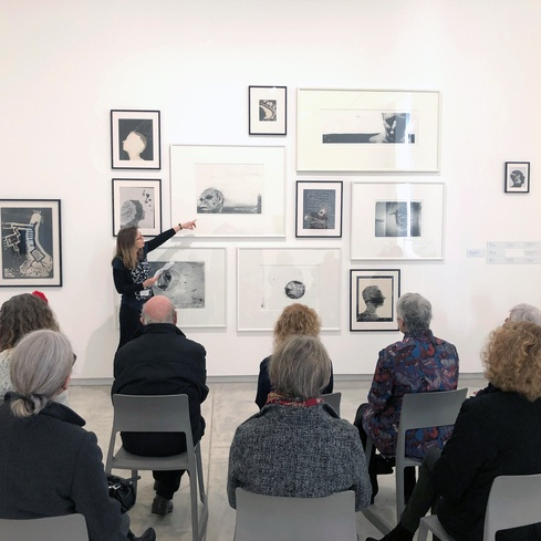Ellie Field and the Gallery Seniors group discuss Len Lye's and Elizabeth Thomson's work in the Aug-Nov 2019 exhibition <em>Waking Up Slowly</em>