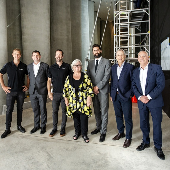 Image: (L-R) Mike Braggins (Clelands Construction Managing Director), Neil Holdom (New Plymouth District Mayor), Layton Cottam (Clelands Construction Service & Maintenance Supervisor), Colleen Mullin (Govett-Brewster Art Gallery Acting Director), Alex Laurenson (Govett-Brewster Foundation President), Phil Hinton (Govett-Brewster Foundation Trustee) and John Leuthart (Govett-Brewster Foundation Trustee). Photo Andy Jackson