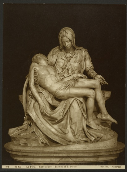 James Anderson <i>Michelangelo, La Pietà</i> c. 1855-1877, albumen silver print. Courtesy J. Paul Getty Museum.