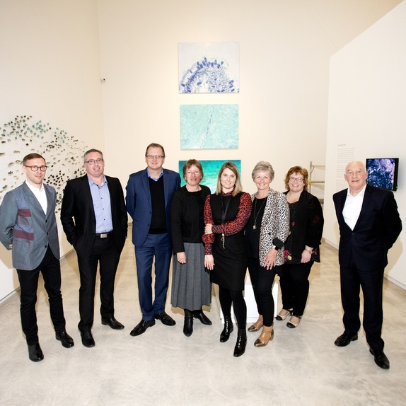 In the exhibition <em>Waking Up Slowly: Elizabeth Thomson and Len Lye</em> (L-R) Johan Lundh, Daimon Stewart, Rob McEwan, Alison Turner, Aileen Burns, Marise James, Kylie Hollard and John Leuthart at the Govett-Brewster Art Gallery/Len Lye Centre. Photo Andy Jackson