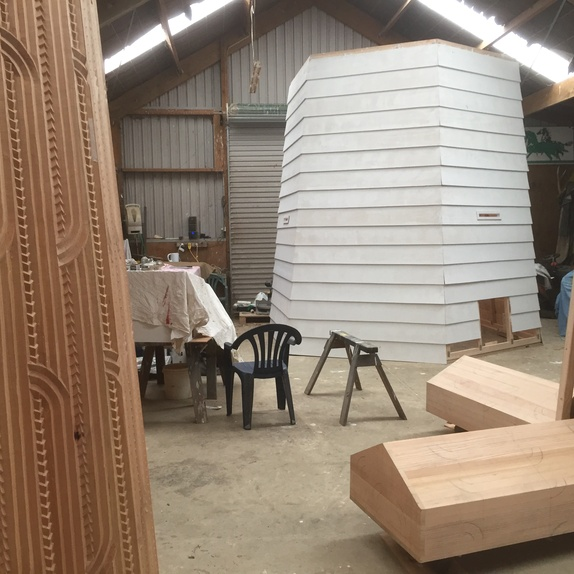 Sculptures for <i>Tai Moana Tai Tangata</i> in progress at Brett Graham's studio, February 2020. Courtesy of the artist.