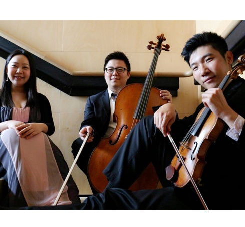 L-R Pianist Xing Wang, Cellist James sang-oh Yoo, and Violinist Xin Jin will perform as an APO trio at the Govett-Brewster Art Gallery