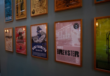 Mrs Brewster Pale Ale has a place on the 'wall of fame' at Shining Peak Brewing in New Plymouth. Photo Rosie Moyes