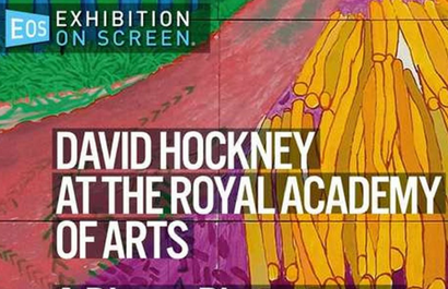 Film poster from <em>Exhibition on Screen: David Hockney at the Royal Academy of Arts</em>. Image courtesy of Rialto Distribution.