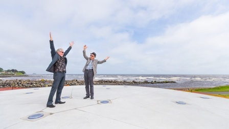 Chair of Art in Public Places Trust Terry Parkes and Len Lye Foundation Chair John Matthews imitate what is going to be newest Len Lye installation 'Waving Wands' at the East End Reserve. Photo Simon O'Connor/Fairfax NZ