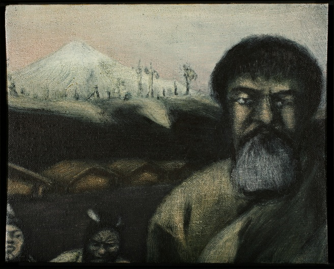 Tony Fomison <em>The man of peace and the man of war (Te Whiti and Titokowaru)</em> 1980. Govett-Brewster Collection. Purchased from the Monica Brewster Bequest with assistance from the Queen Elizabeth II Arts Council of New Zealand in 1981