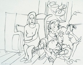 Family group in sitting room