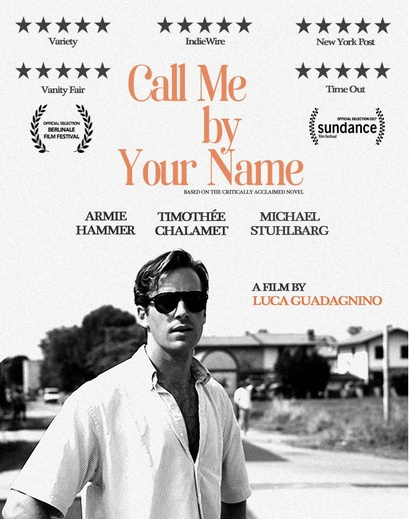 Poster for <em>Call Me By Your Name</em>. Image courtesy of Sony Distribution