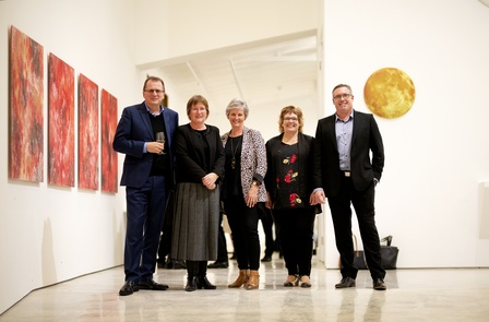 In the exhibition <em>Waking Up Slowly: Elizabeth Thomson and Len Lye</em> (L-R) Baker Tilly Staples Rodway team Rob McEwan, Alison Turner, Marise James, Kylie Hollard and Daimon Stewart at the Govett-Brewster Foundation's Partners, Patrons and Guests Exhibition Preview on Thursday 8 August 2019. Photo Andy Jackson