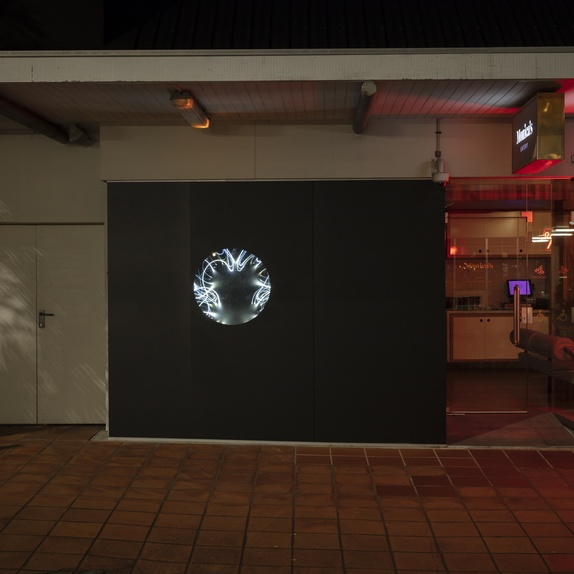 Jacqueline Elley's <em>Luxoplasts</em>2018 in the relaunched Open Window outside the Govett-Brewster Art Gallery on Queen St, New Plymouth. Photo Sam Hartnett