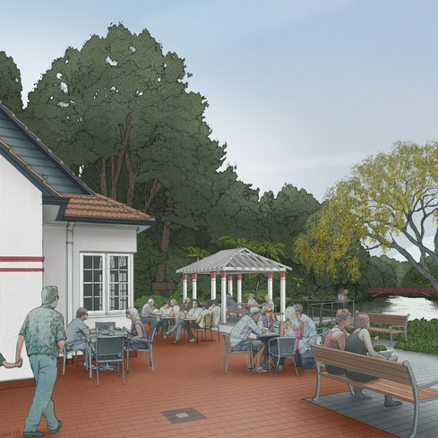 Tea House on the Lake, Pukekura Park, artist impression