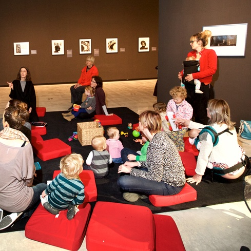Mums, dads and caregivers join Govett-Brewster staff for baby-friendly insight into the exhibitions, followed by morning tea. Photo Mark Dwyer