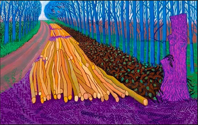 Film still from <em>David Hockney: A Bigger Picture</em>