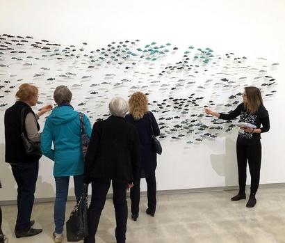 Ellie Field leads a discussion at the Govett-Brewster Art Gallery about the exhibition <em>Waking Up Slowly: Elizabeth Thomson and Len Lye</em>