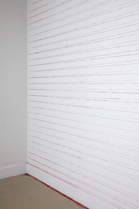 Haegue Yang <em> 56.6m2 Doubled in Reverse</em> 2012/2018 from the <em>Chalk Line Drawings</em> (2002- ) series, installation view, detail. Courtesy the artist. Photo Sam Hartnett