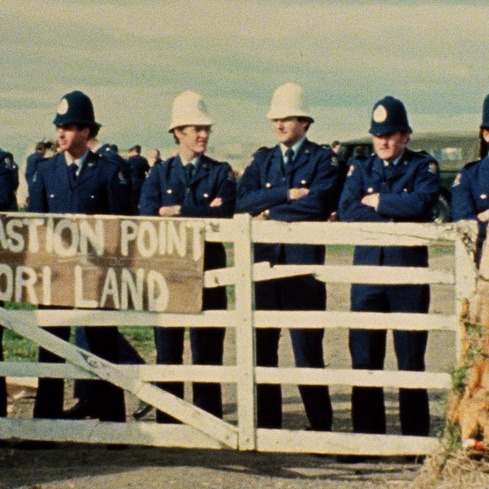 Merata Mita <Bastion Point: Day 507</em> film still 1980. Image courtesy of the artist and Ngā Taonga Sound & Vision, Mita Whānau, Leon Narbey, and Pohlman Production