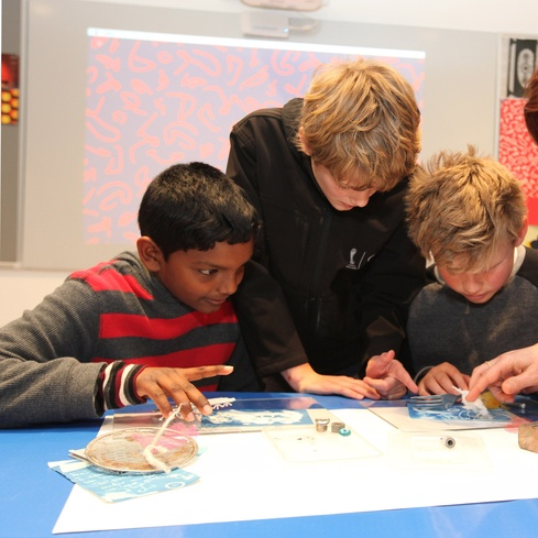 (L-R) Indusara Medagedara, James Hall, and Ben McAlister in the Learning Centre. Photo Glenn Jeffrey