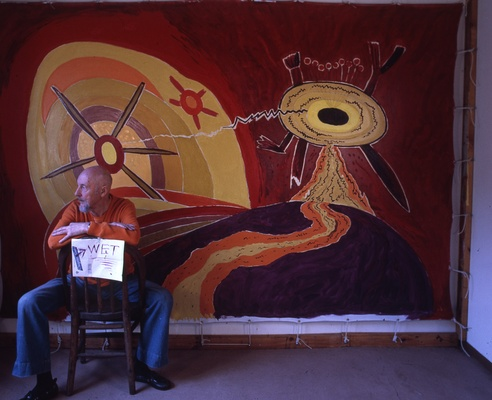 Len Lye in studio with <em>Land and Sea</em> c. 1979. Len Lye Foundation Collection, Govett-Brewster Art Gallery