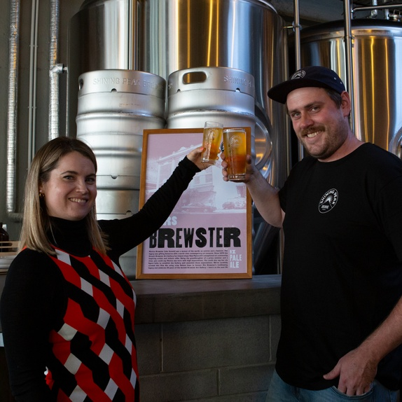 Govett-Brewster Art Gallery Co-Director Aileen Burns and Shining Peak Head Brewer Jesse Sigurdsson at the launch of Mrs Brewster Pale Ale at Shining Peak Brewing in New Plymouth. Photo Rosie Moyes