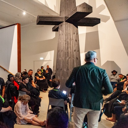 Wharehoka Wano during the opening pōwhiri for Brett Graham's exhibition <i>Tai Moana Tai Tangata</i>.