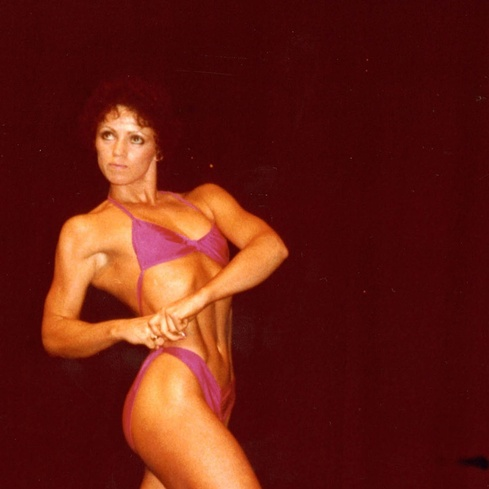 Fiona Clark <em>Pan Pacific Womens' Body Building Championship posing, Auckland 1981</em> 1981. Cropped image. Courtesy the artist and Michael Lett