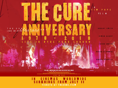 Film poster from The Cure - Anniversary 1978 - 2018. Image courtesy of Trafalgar Releasing.